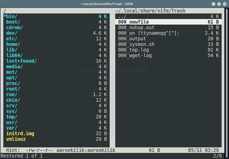 Vifm Restore a File