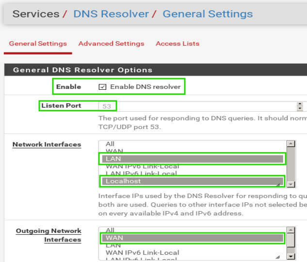 pfSense Enable DNS Resolver
