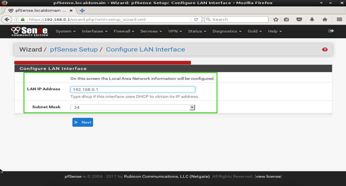 pfSense LAN Configuration