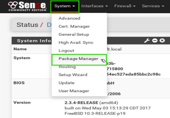 pfSense Package Manager
