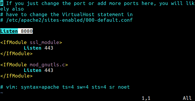 Change Apache Port