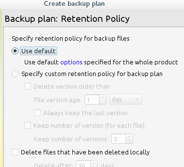 CloudBerry Backup Retention Policy