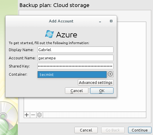 CloudBerry Backup Storage Account Details