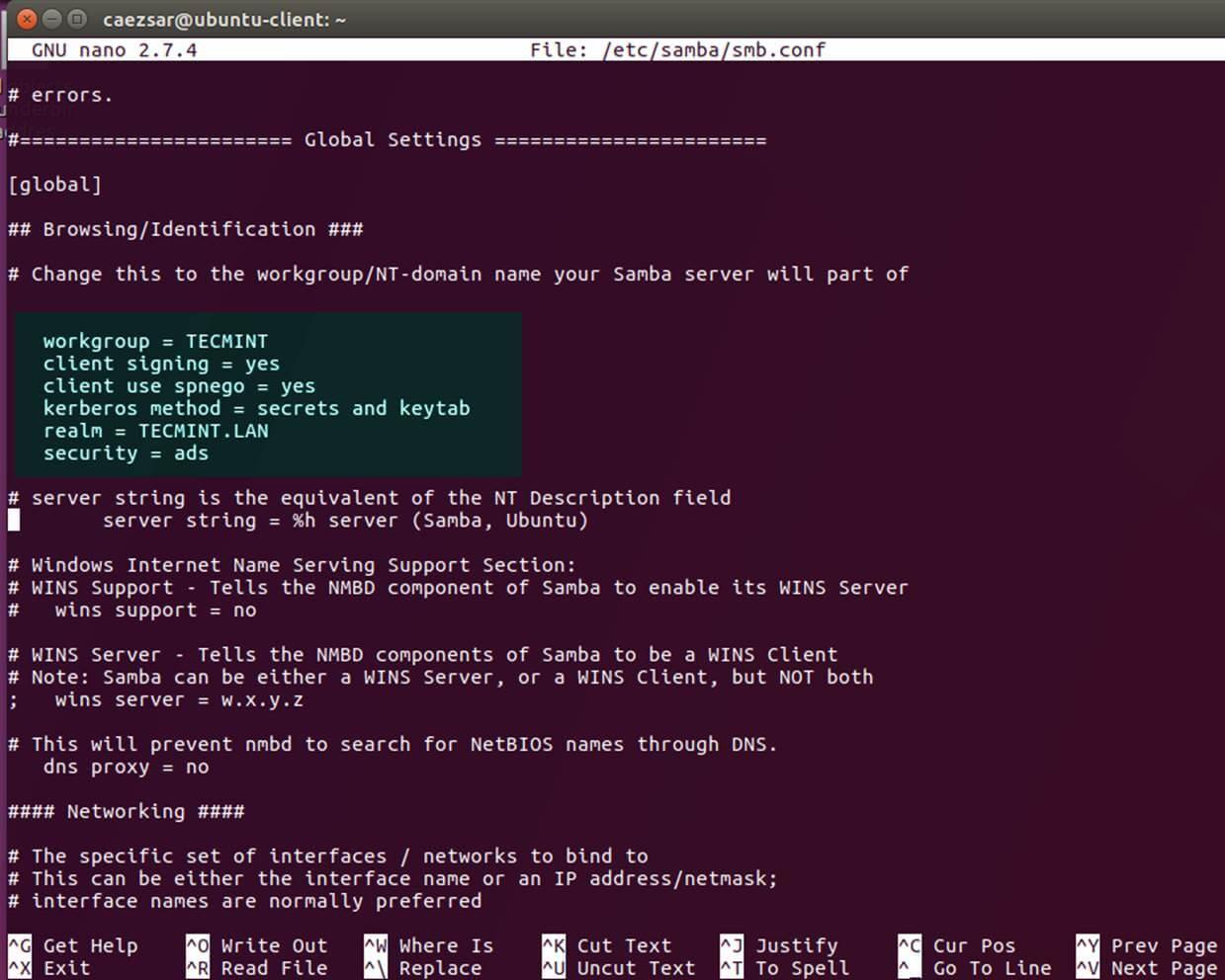 Configure Samba Server