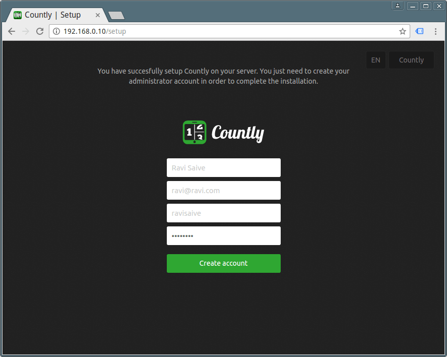 Create Countly Admin Account