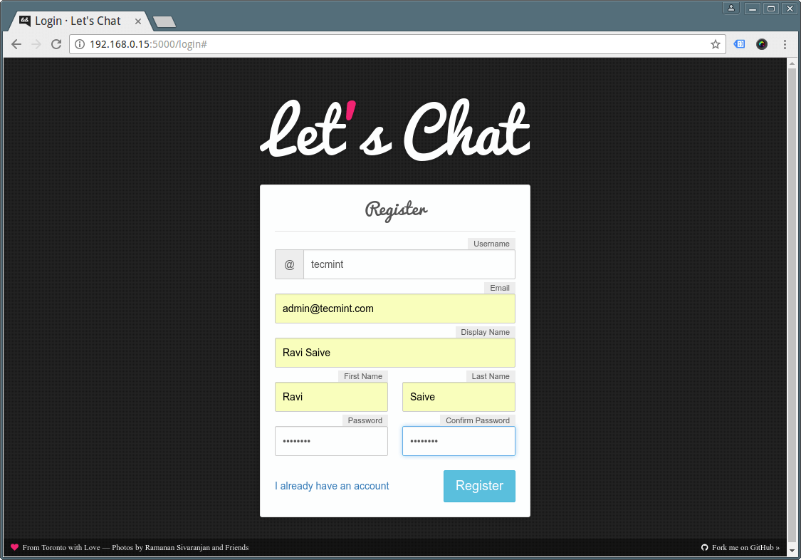Create Lets Chat Account