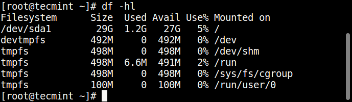 Linux Filesystem Usage