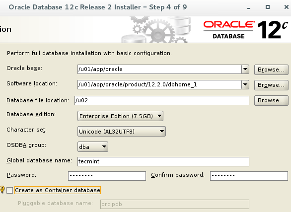 Oracle 12c Basic Configuration