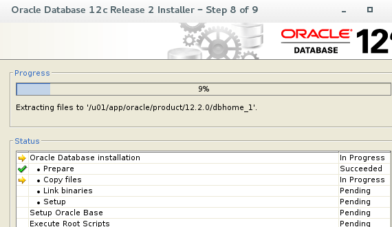 Oracle 12c Installation Progress