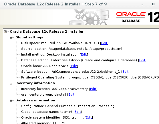 Oracle 12c Installation Settings