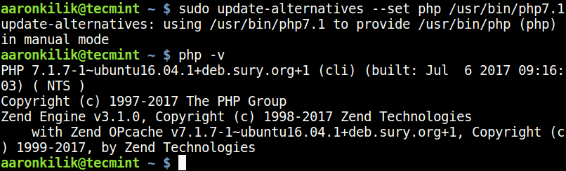 Set PHP 7.1 Version in Ubuntu