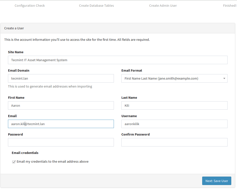 Snipe-IT User Information