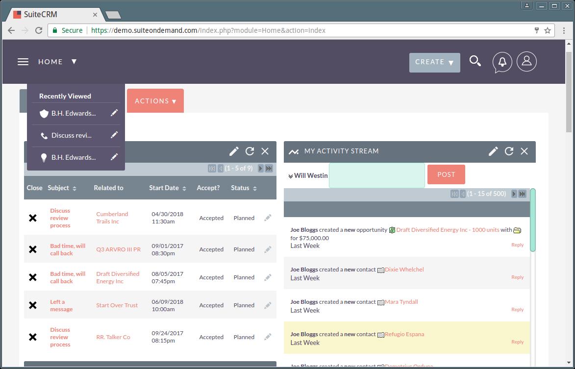 SuiteCRM Dashboard