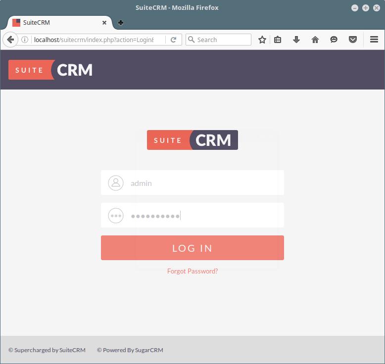 SuiteCRM Login Interface