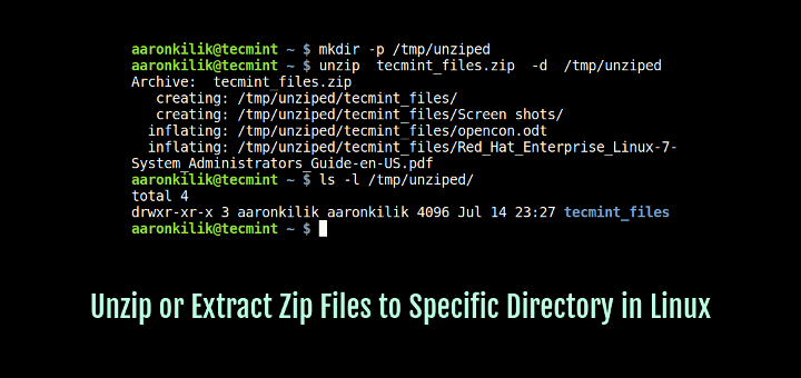 Unzip Zip Files to Specific Directory