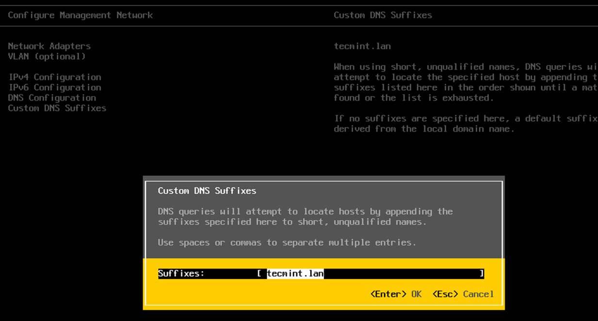 VMware ESXI Custom DNS Suffix