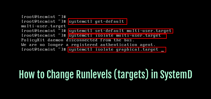 How to Change Runlevels (targets) in SystemD