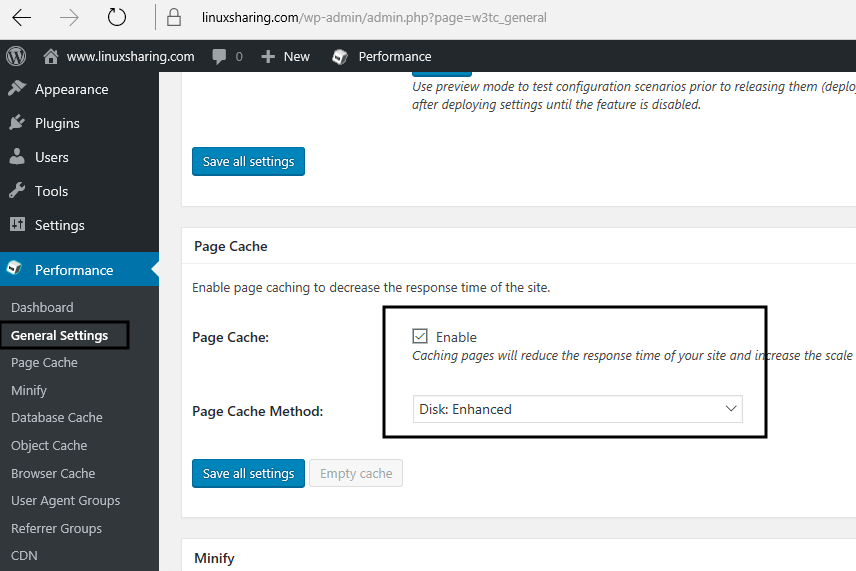Enable Page Cache on WordPress