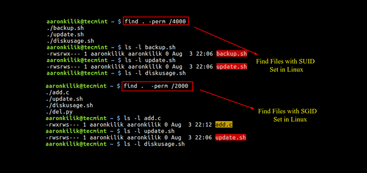 Find Files With SUID and SGID Set in Linux
