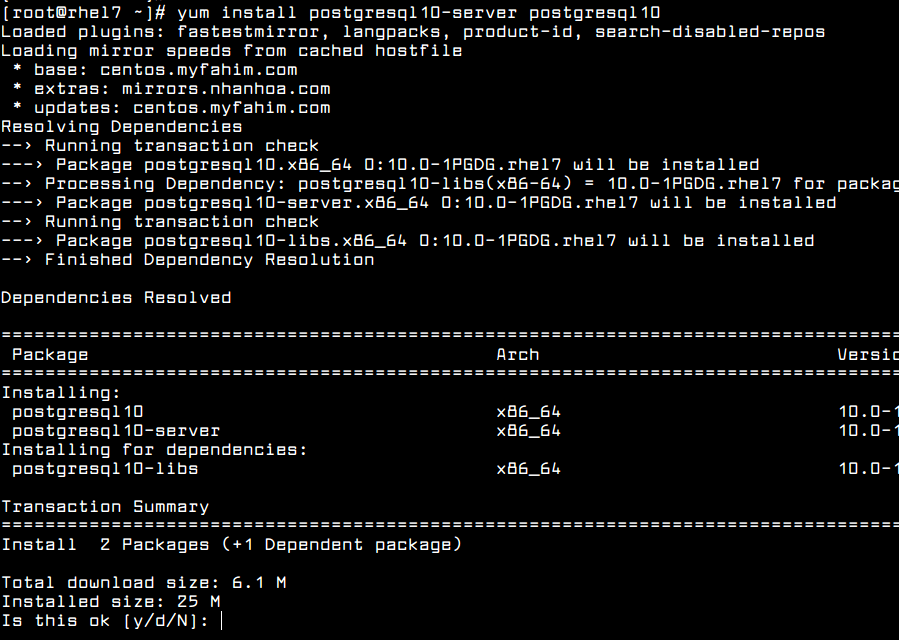 Install PostgreSQL Server