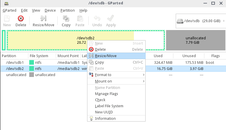 Resize Partition Using GParted