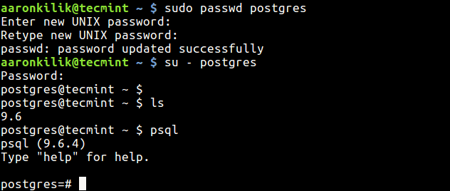 Set Password for Postgre User