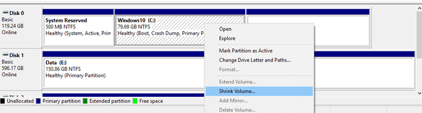 Shrink C Partition