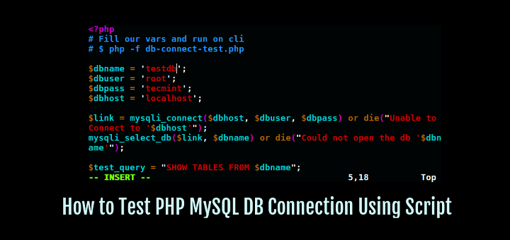 Test PHP MySQL Database Connection