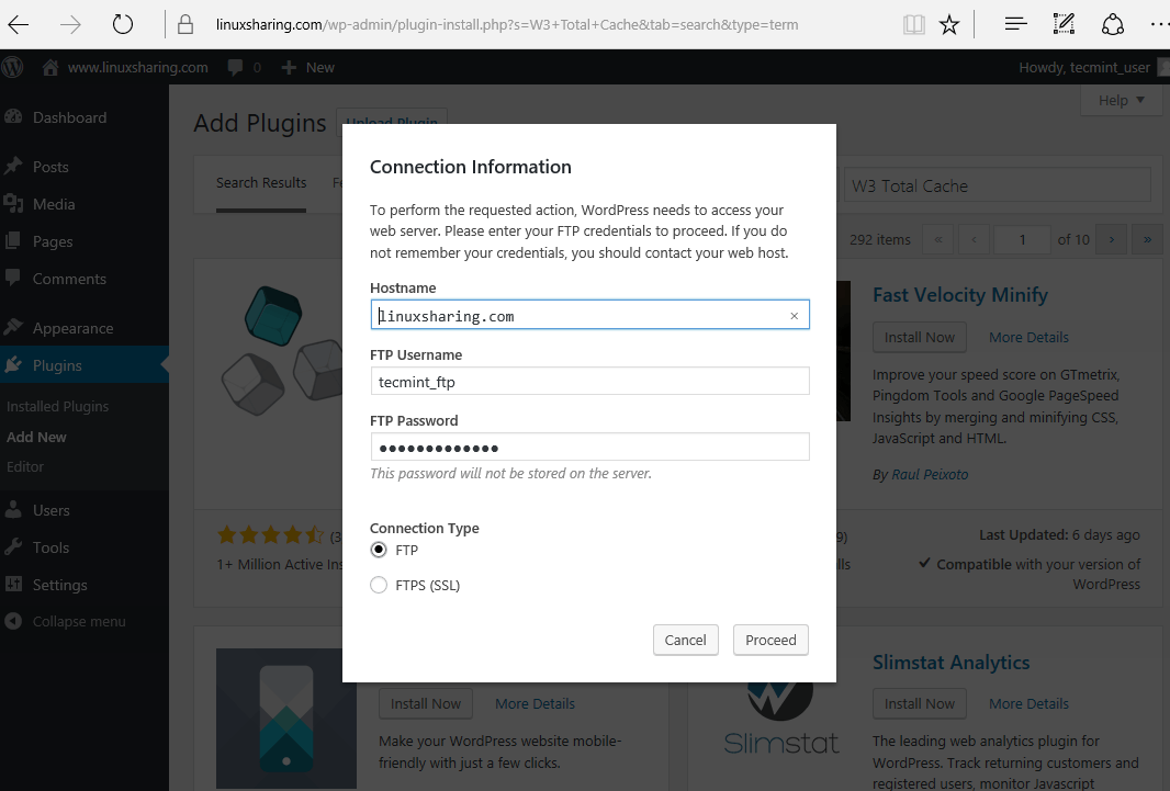 WordPress FTP Login Details