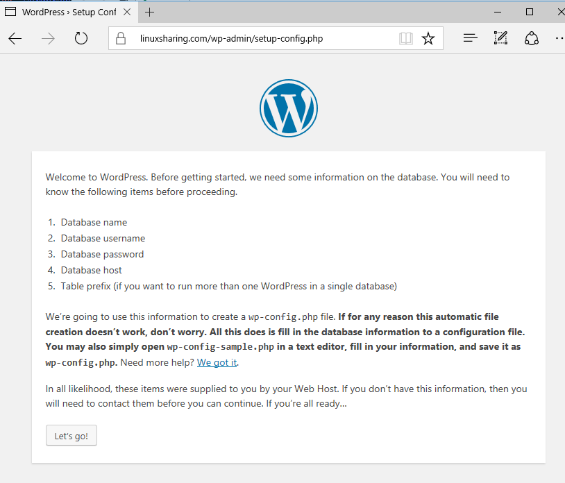 WordPress Installation Setup