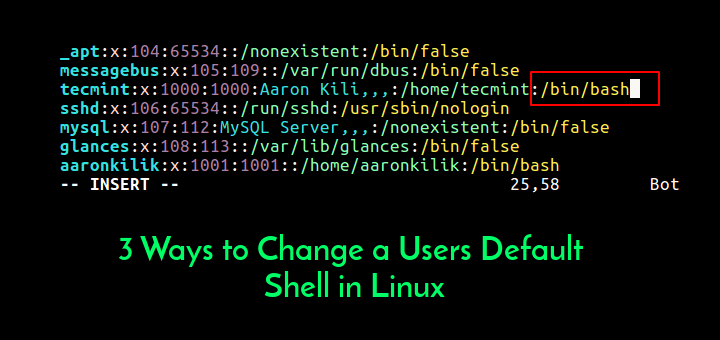 Change User Default Shell in Linux