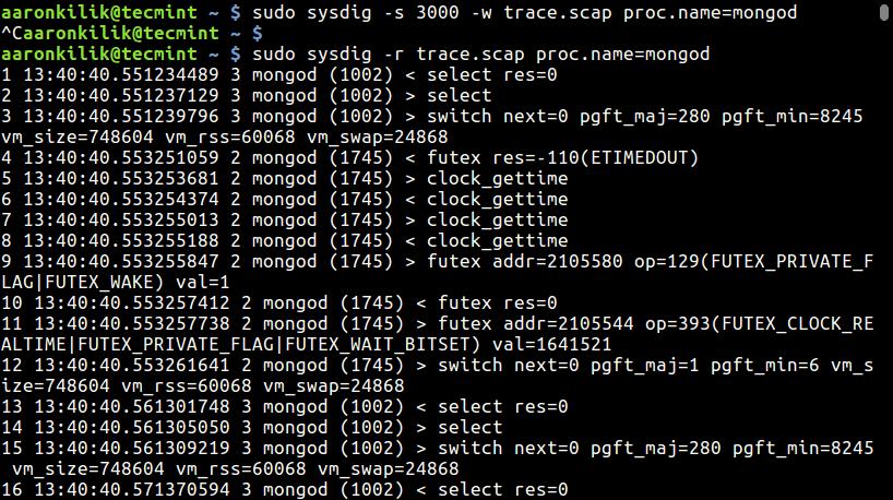 Create MongoDB Trace File