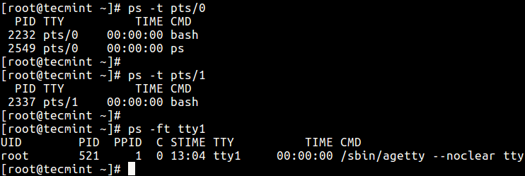 List Processes by TTY