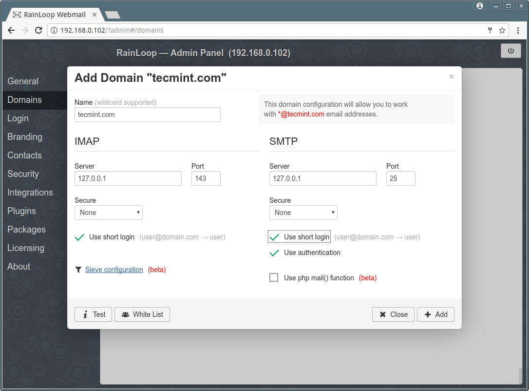 Add Domain in Webmail