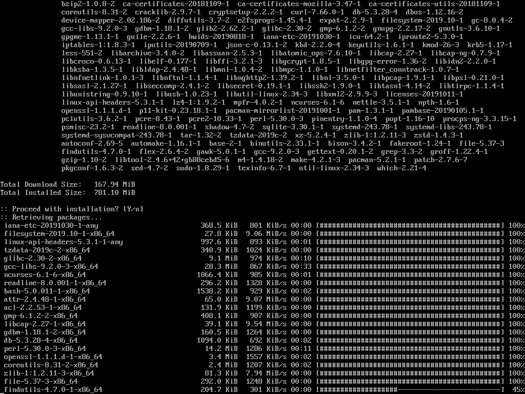 Arch Linux Installer in Progress