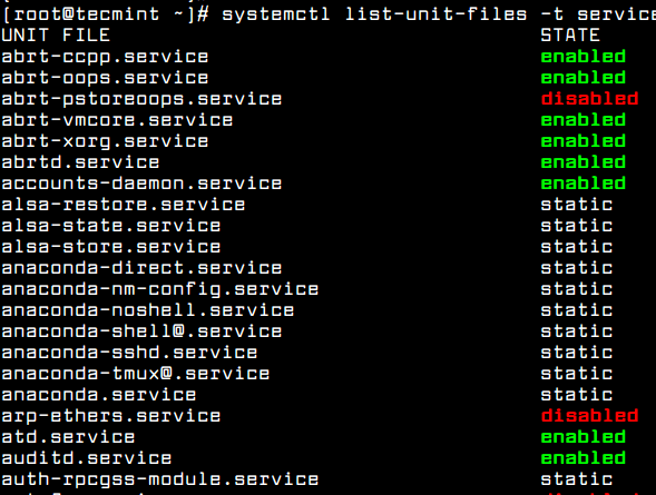 List Enabled Services