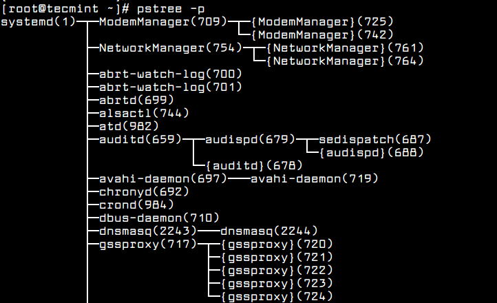 List Linux Processes in Tree Format