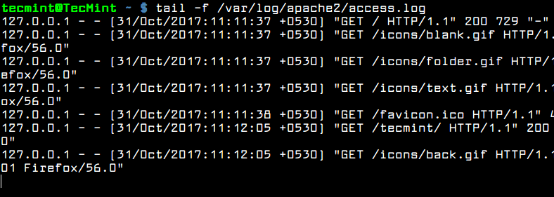Monitor Apache Logs in Real Time