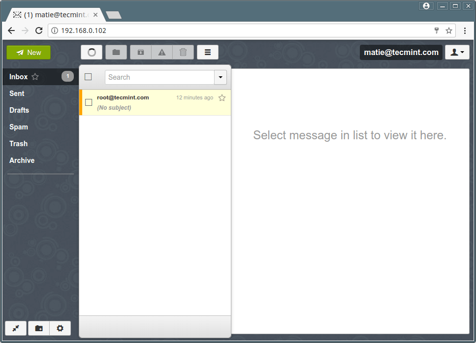 Postfix Webmail User Inbox