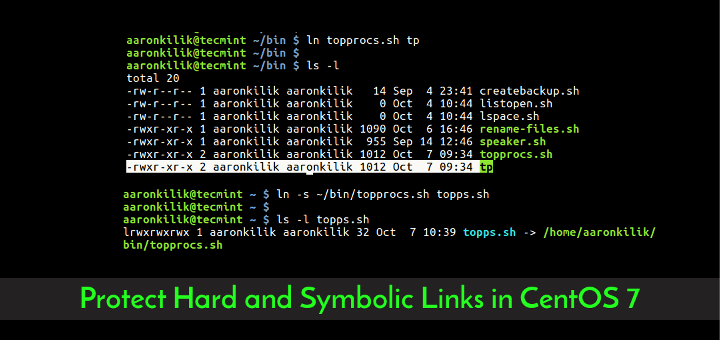 Protect Hard and Symbolic Links in CentOS
