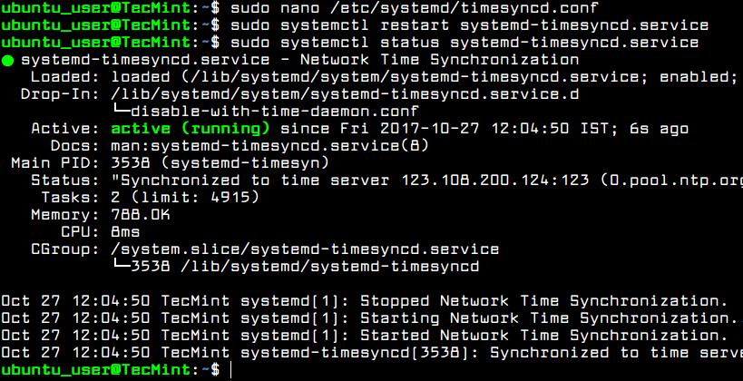 Start TimeSyncd Service