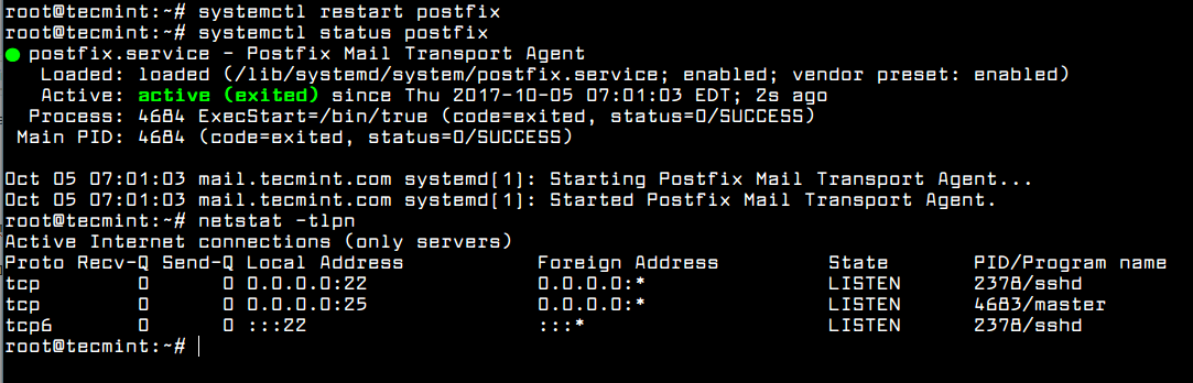 Start and Verify Postfix
