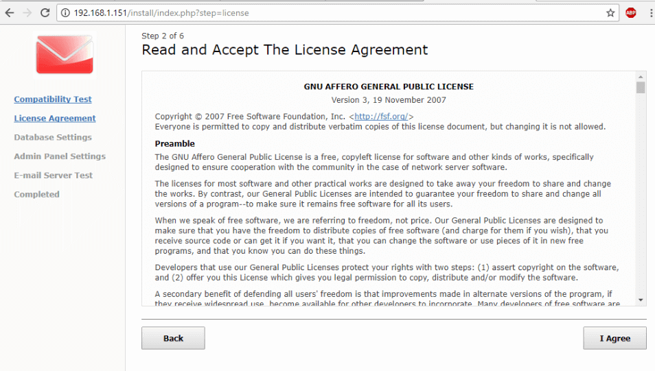 Accept WebMail License Agreement