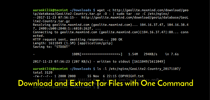 Download and Extract File in Linux