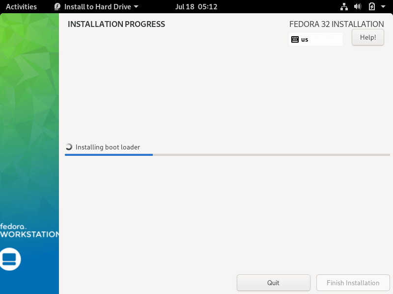 Fedora 32 Installation Progress