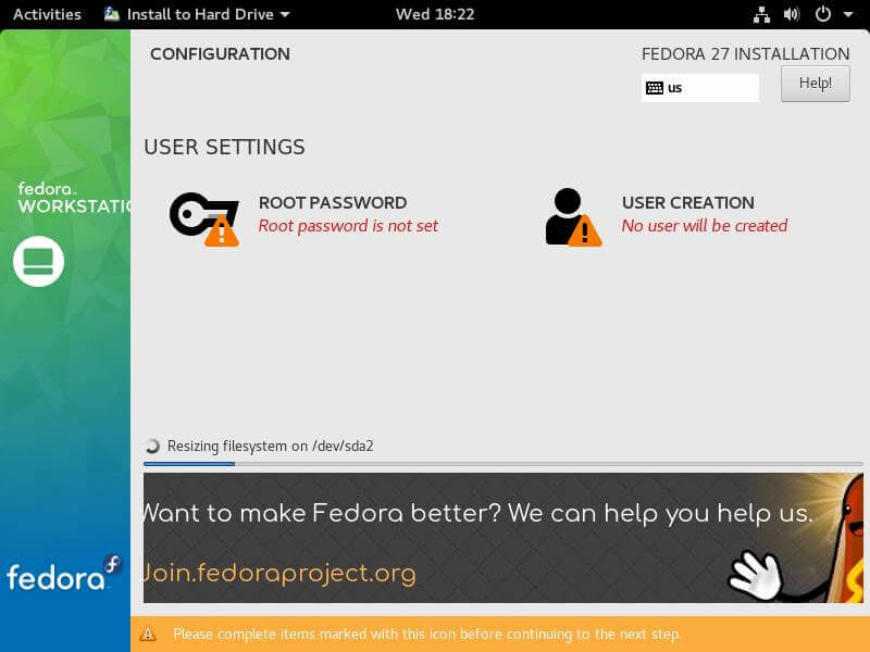 Fedora User Setting