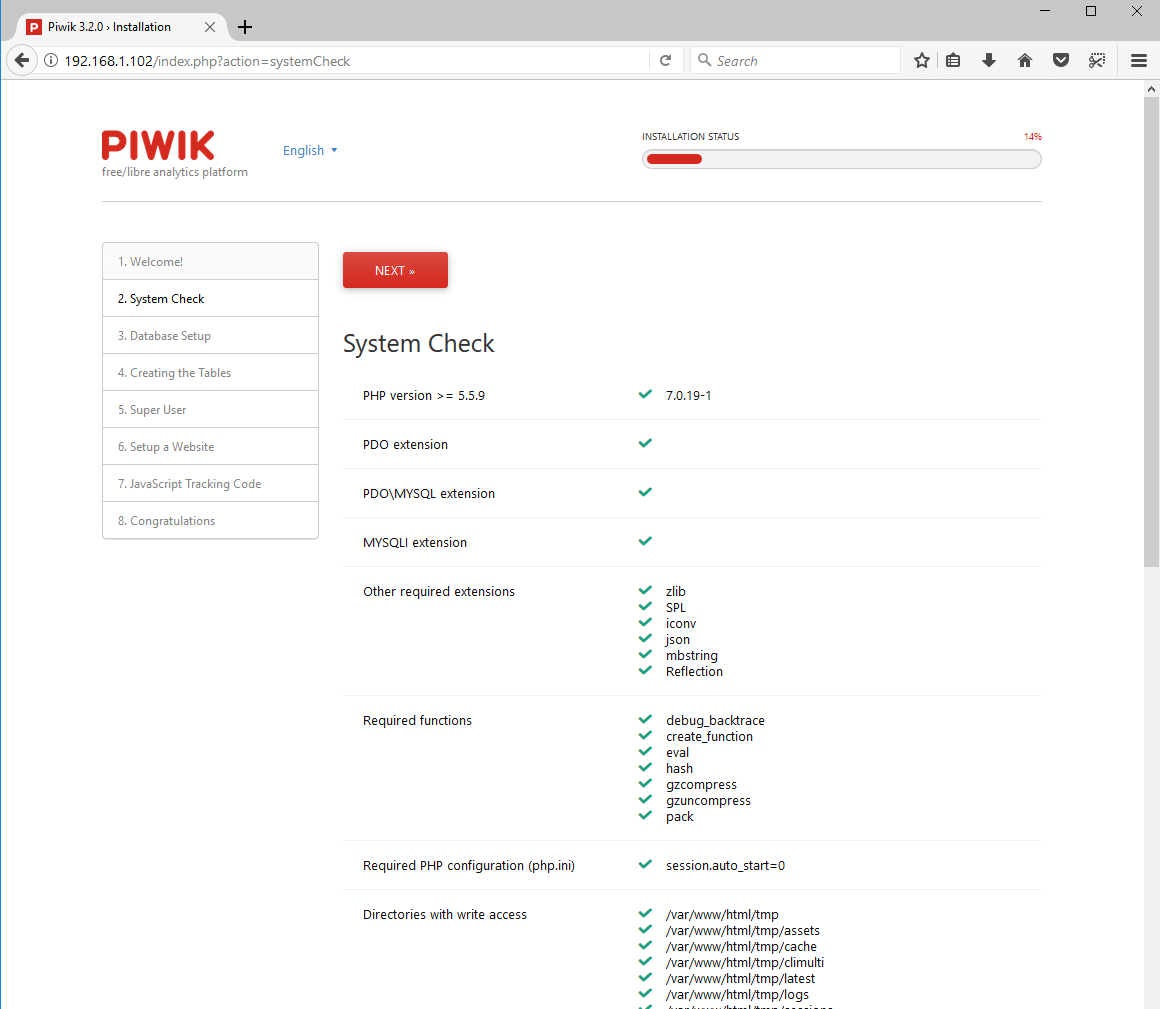 Piwik Database Settings