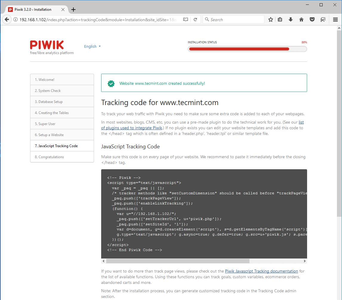 Piwik Website Tracking Code