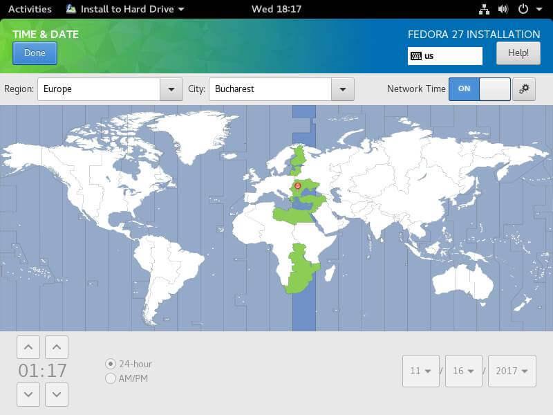 Select Fedora Timezone