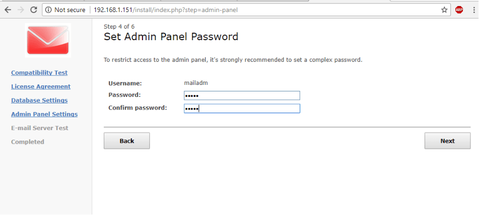 Set WebMail Admin Password